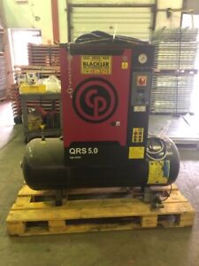 Cp 5 Hp 3 phase Tank Mounted Rotary Compressor Qrs 5 0hp chicago Pneumatic Used