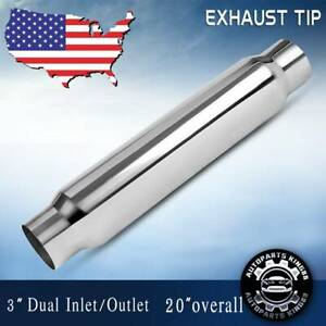 3 Inlet Outlet Muffler Exhaust Silencer Resonator Straight through 20 Overall