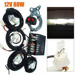 80w 4 Led Hid Bulbs White Hide A Way Emergency Warning Strobe Light System Kit