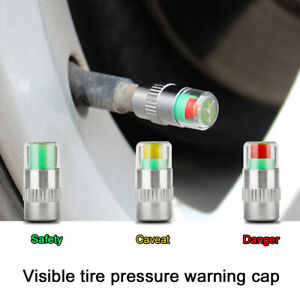 4pcs Car Auto Tire Pressure Monitor Gage Alert Sensor Indicator Valve Caps Wheel