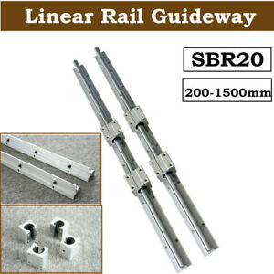 Sbr20 Linear Rail Slide Guide 200 2000mm 2x Shaft Sbr20uu Block Bearing Set
