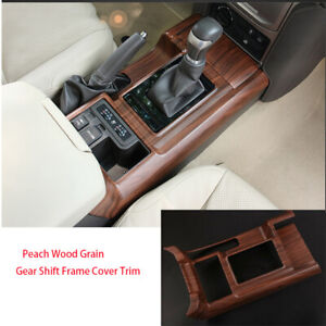 For Toyota Prado Fj150 2010 2018 2x Peach Wood Grain Gear Shift Frame Cover Trim