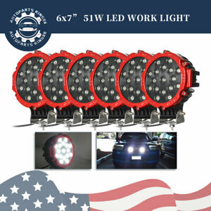 6pcs 7inch Led Work Light Bar Red Round Driving Fog Headlight Truck Off Road Us