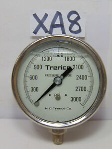 H o Trerice Co 4 Dial 0 3000 Liquid Fill Pressure Gauge Stainless Steampunk