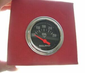 Oil Temp Gauge Vintage Car Accessory Autometer Usa Classic Oiltemp Chrome Nos