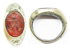 2nd Century A D Roman Silver Carnelian Intaglio Ring Of Ceres Snettisham Type