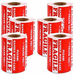 3000 Pcs 3 X 5 Fragile Handle With Care Label Sticker Semi Gloss Self adhesive