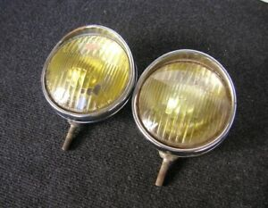 Hooded Yellow Hella Fog Lights Amber Vintage Accessory Porsche 356 Mb Vw Beetle