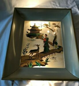 Vintage Mcm Metal Electric Wall Light Framed Painted Glass Oriental Scene