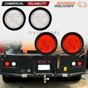 4x 4 Round 24 Led Stop Turn Tail Light Backup Reverse Truck Trailer Red White