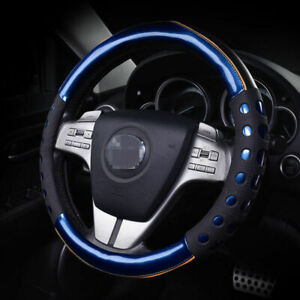 38cm 15 Car Steering Wheel Cover Auto Pu Leather Soft Anti Slip Blue Luxury