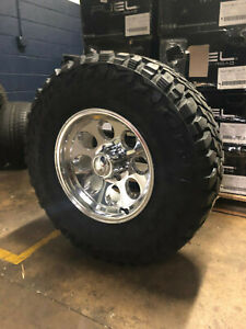17x9 Ion 171 Polished Wheels Rims Tires Package 35 Mt 8x6 5 Dodge Ram 2500 3500