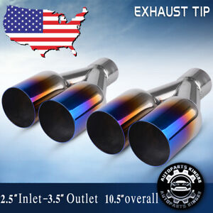 2pc 2 5 Inlet Quad 3 5 Outlet 10 5 Long Dual Hole Outlet Exhaust Tips Burn Ss
