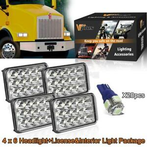 4x6 Led Projector Headlight Replacement blue Side Cab Marker Interior Lights