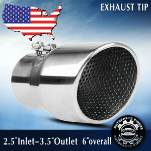 2 5 Inlet 3 5 Outlet Bolt On Dual Wall Muffler Exhaust Tip Tailpipe Stainless