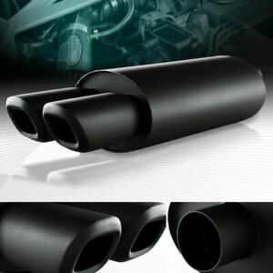 3 Dual Square Tip 2 5 Inlet Black Stainless Racing Exhaust Muffler Universal