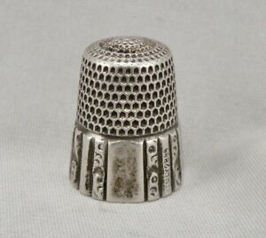 Antique Sterling Silver Sewing Thimble Scroll Panel 5 1g Simons Bros Size 9