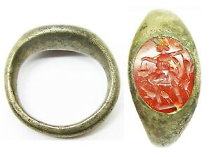 1st 2nd Century A D Nice Roman Silver Intaglio Ring Of A Victorious Hunter