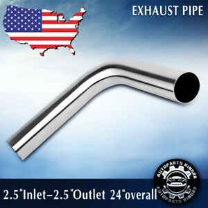 2 5 Inch 90 Degree Stainless Steel Exhaust Piping Tubing Tube Pipe 24 Long