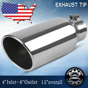 Diesel Exhaust Tip 4 Inlet 6 Outlet 15 Long Rolled Angle Cut Bolt On S S