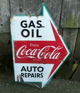 Old Style Coca Cola Gas Oil  Auto Repairs Service Station Tin Metal Arrow Sign
