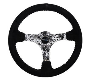 Nrg Steering Wheel 350mm 3in Deep Black Suede W Hydrodipped Digi Camo Spokes