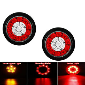 2x 4 Inch Round Truck Rv Trailer Tail Lights Led Stop Brake Turn Signal Light
