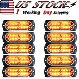 10x Amber Flash Strobe Car Trailer Led Warning Emergency Hazard Light Bar 72w