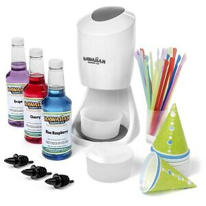 Ice Shaved Ice And Snow Cone Machine With 3 Flavor Syrup Pack accessories
