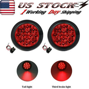 2x 4 Round Stop turn tail Brake Sealed Truck Trailer Led Lights Rubber Mount