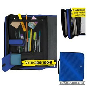 New Five Star Zipper Binder 2 Inch 3 Ring Binder Expansion Folder Durable Blue