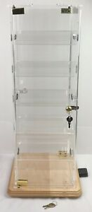 Acrylic Jewelry Counter Top 2 Door Locking Spinning 10 Slant Shelf Display Case
