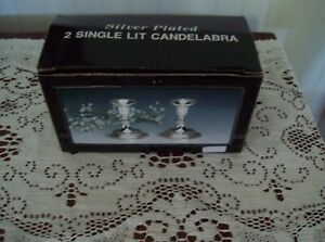 Silver Plated Candlesticks Candle Holders Nip