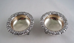 Gorham Coin Silver Pair Of Master Salts Floral Ivy Early Not Sterling