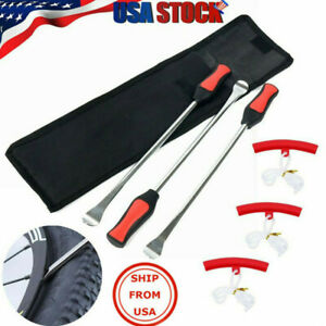 Motorcycle Spoon Tire Iron Kit Tire Change Lever Tool W 3pc Rim Protectors