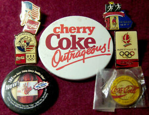 (7) DIFFERENT OLD COCA COLA SODA ADVERTISING PINS & PIN BACK BUTTONS