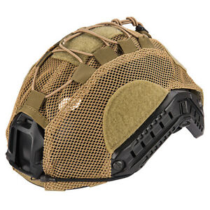 Lancer Tactical BUMP Helmet Cover Adjustable Lightweight Mesh Netting Tan ML