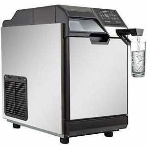 Ice Maker With Cool Water Dispenser 35kg 24h Stainless Steel Commercial 77lbs