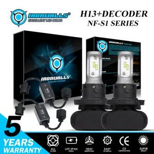 Hi lo H13 9008 Led Headlight 2100w 6500k Bulbs error Free Canbus Decoder Combo