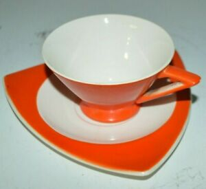 Streamline By Salem Art Deco Tricorne Tea Cup And Saucer True Vintage 1930s