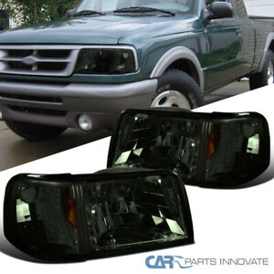 For 93 97 Ford Ranger 2in1 Smoke Lens Headlights corner Turn Signal Lamps Pair