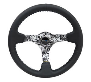 Nrg Steering Wheel 350mm 3in Black Leather W Hydrodipped Digi