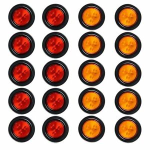 2 5 Inch Round Led Trailer Clearance Marker Lights Turn Signal Amber red 20pcs