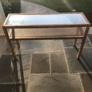 Vintage Bielecky Brothers Wrapped Rattan Reed Cane And Glass Console Sofa Table
