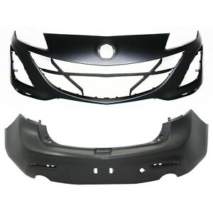 New Bumper Covers Facials Set Of 2 Front Rear For 3 Ma1000224 Ma1100204 Pair