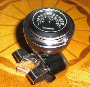 Vtg Style Black Steering Wheel Thermometer Broody Spinner Suicide Knob Hot Rod