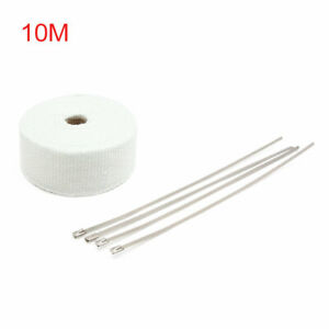 White Fiberglass Exhaust Pipe Wrap Tape Turbo Heat Insulation Cloth 10m Long