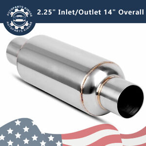 Exhaust Turbine Muffler 2 25 Inlet Outlet Race Resonator 304 Stainless Steel
