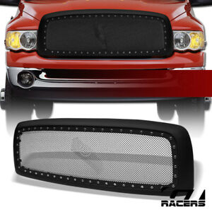 For 2002 2005 Dodge Ram Matte Blk Rivet Bolt Steel Mesh Front Hood Bumper Grille