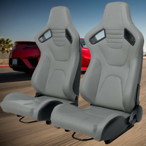 2pc Car Racing Seats Faux Leather Reclinable Bucket Black Sport Seats Universal